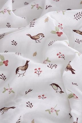 Caline Baby Müslin Bezi Örtü Kuş Desen - Kahve 90x75 Cm + 2 Adet Ağız Mendili