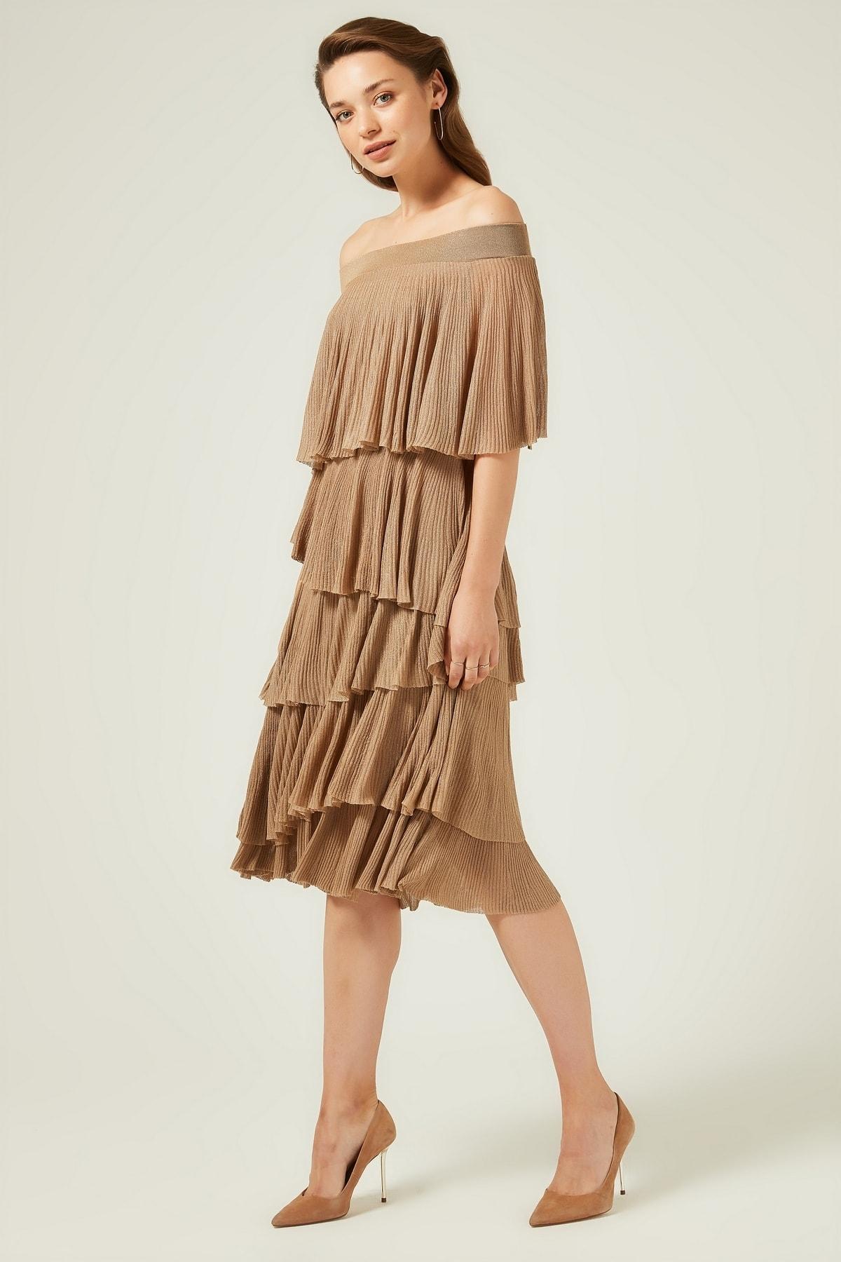 JOIN US Kadın Camel Fırfırlı Bardod Triko Elbise 2020S098 2