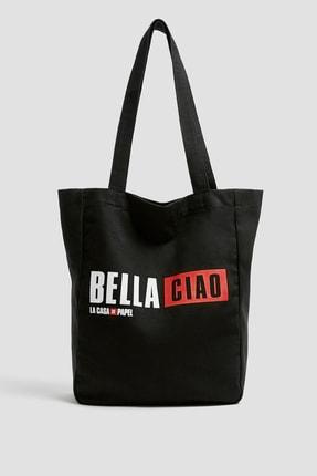 Pull & Bear Kadın Siyah Siyah La Casa De Papel X Pull&Bear Sloganlı Tote Çanta 14158540