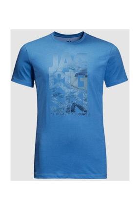 Jack Wolfskin Atlantic Ocean Erkek Outdoor Tişört Mavi