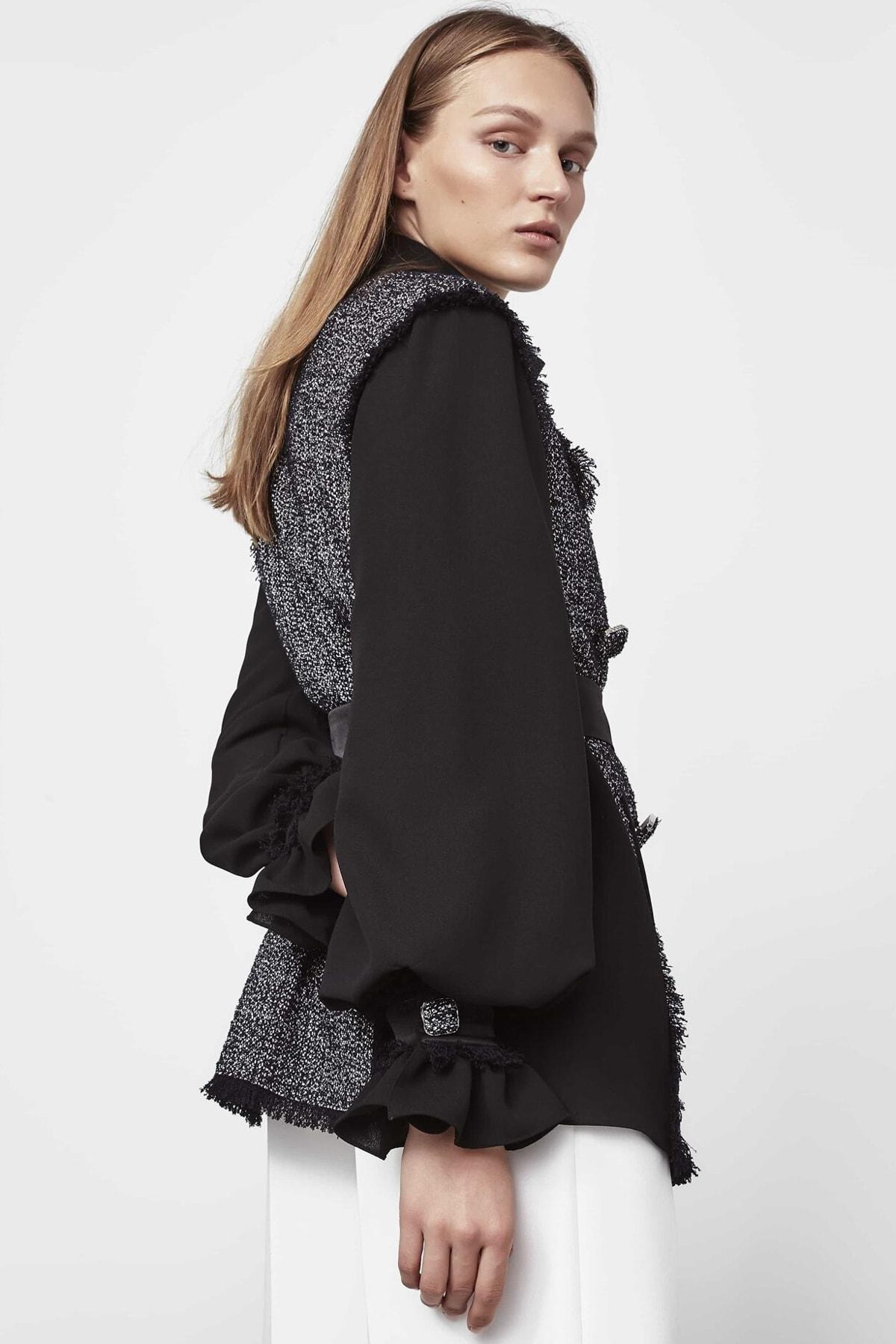 İpekyol Kadın Siyah Tüvit Mixli Ceket IW6190005188001 2