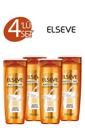 ELSEVE 4'lü Mucizevi Hindistan Cevizi Yağı Ağırlaştırmayan Besleyici Şampuan 360 ml Seti  36005237558134