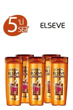ELSEVE 5'li 6 Mucizevi Yağ Bakım Şampuanı 360 ml Seti  36005231657975