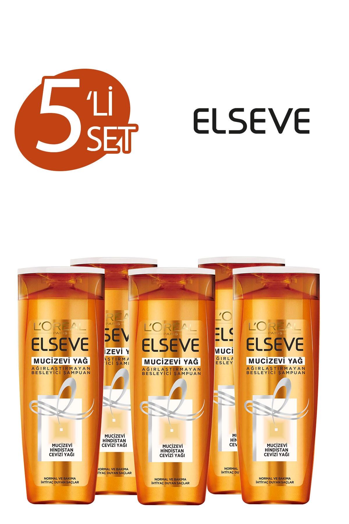 ELSEVE 5'li Mucizevi Hindistan Cevizi Yağı Ağırlaştırmayan Besleyici Şampuan 360 ml Seti  36005237558135 1