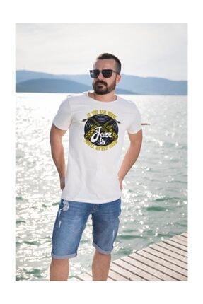Angemiel Wear Saksafon Jazz Pamuklu Beyaz Erkek Tişört