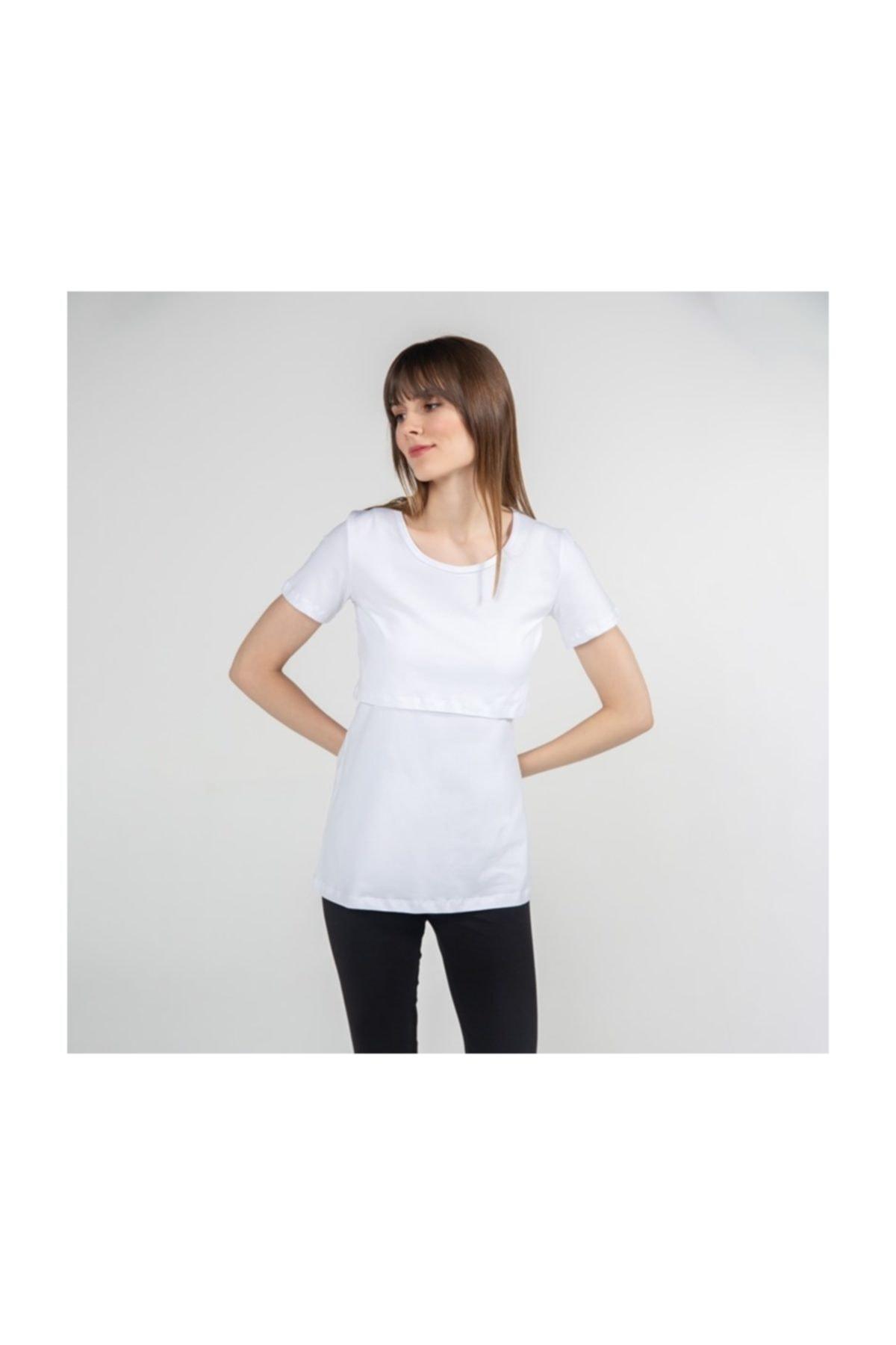 FUNNA MAMMA Kadın Beyaz Bisiklet Yaka Emzirme T-Shirt 2
