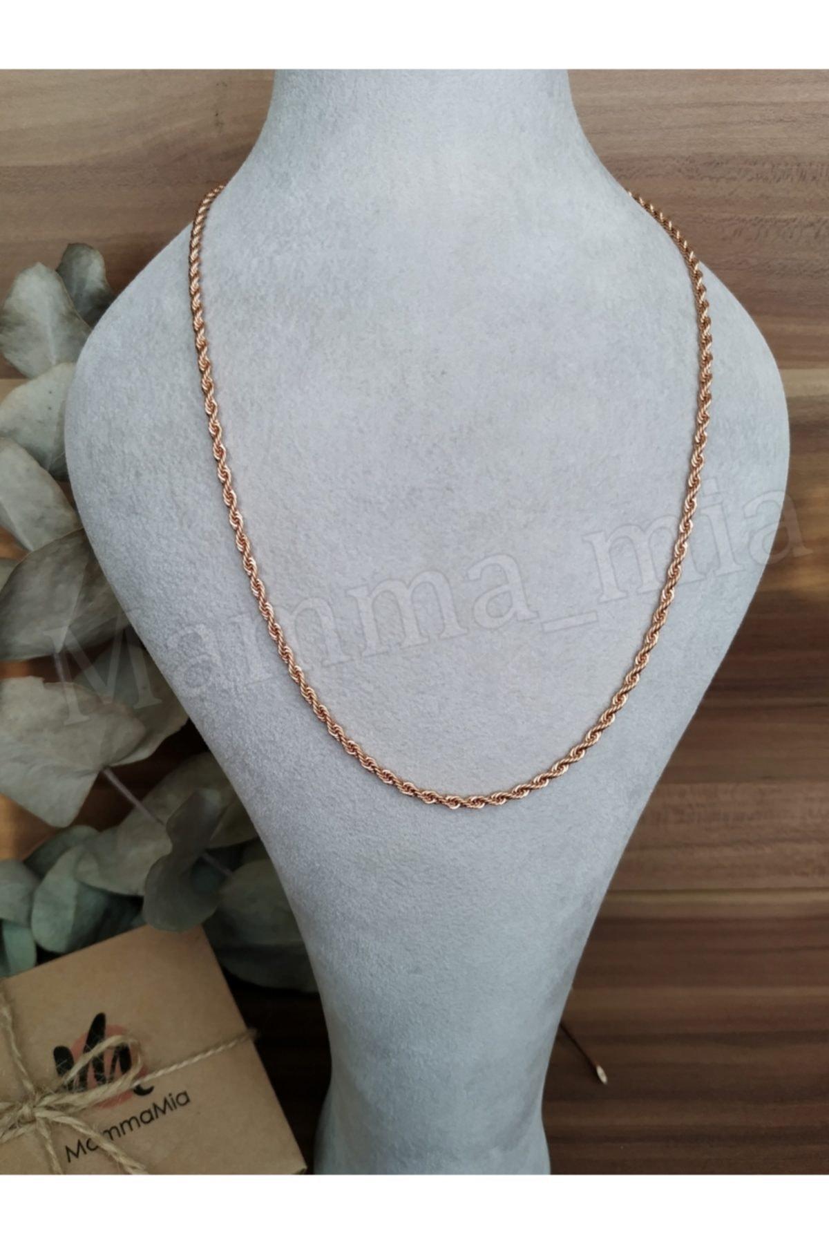 Mammamia 45cm Kadın-erkek Çelik Rose Burgu Zincir Kolye 1