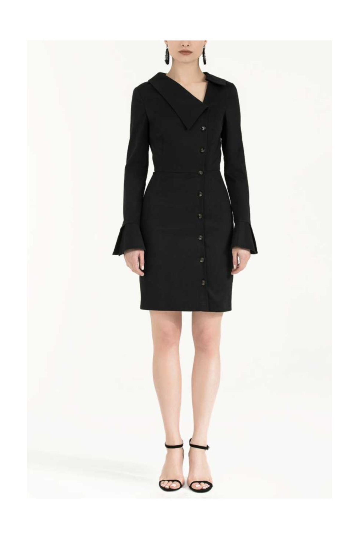 SOCIETA Düğmeli Asimetrik Yaka Dar Kesim Elbise Siyah 1