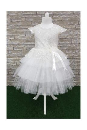 Mixie beyaz pullu,doğum günü,abiye,tütü kız çoçuk elbisesi