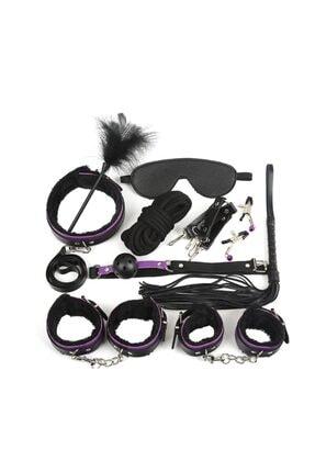 Lolita Shop Mor 11 Parça Kırbaç Kelepçe Full Aksesuar Fetiş Fantezi Set