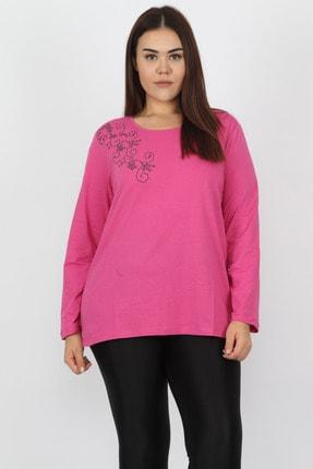 Şans Kadın Fujya Pamuklu Kumaş Çiçek Baskılı Bluz 65N15568