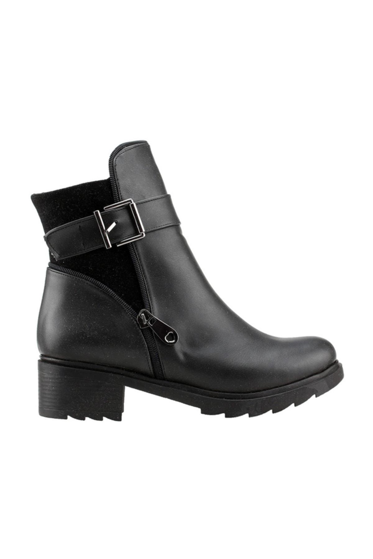 Ayakland Siyah Günlük 4cm Topuk Fermuarlı Bayan Cilt Bot Ayakkabı 3883-823 1