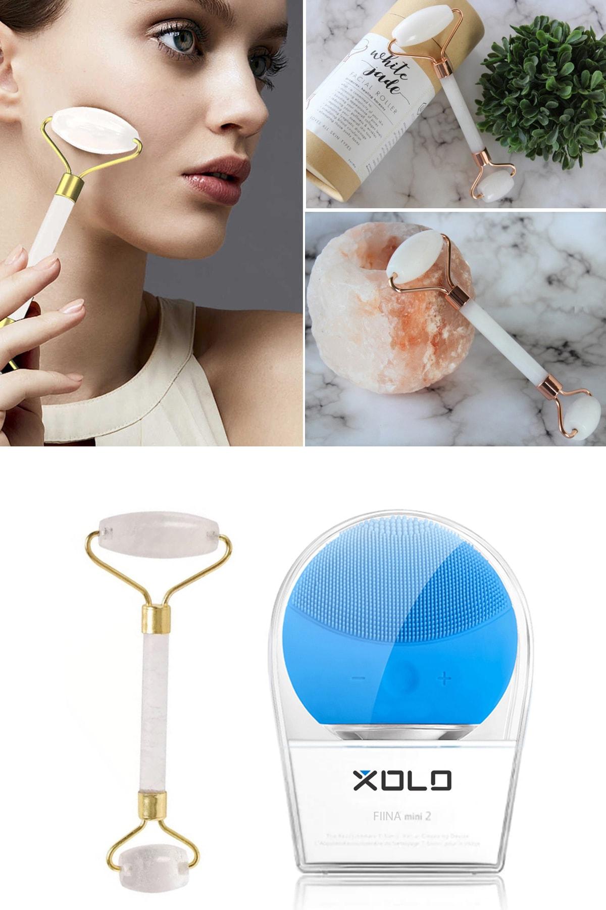 xolo Şarj Edilebilir Mavi Yüz Temizleme Cihazı + Jade Roller Beyaz 2'li Yeşim Taşı Masaj Aleti 2