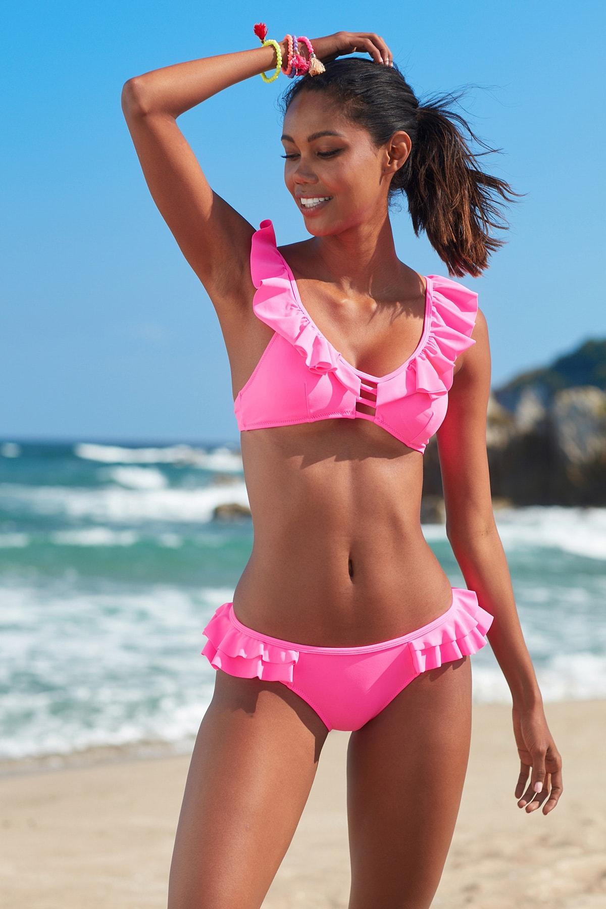 No Gossip Kadın Fırfır Detaylı Bikini  Alt 209202 Neon Pembe 1