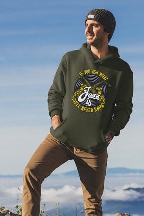 Angemiel Wear Jazz Ve Saksafon Yeşil Erkek Kapüşonlu Sweatshirt Çanta Kombin
