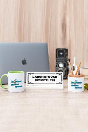 Hediyedukkani Laboratuvar Hizmetleri Yeşil Kupa Bardak Kalemlik Ve Masa Isimliği Seti