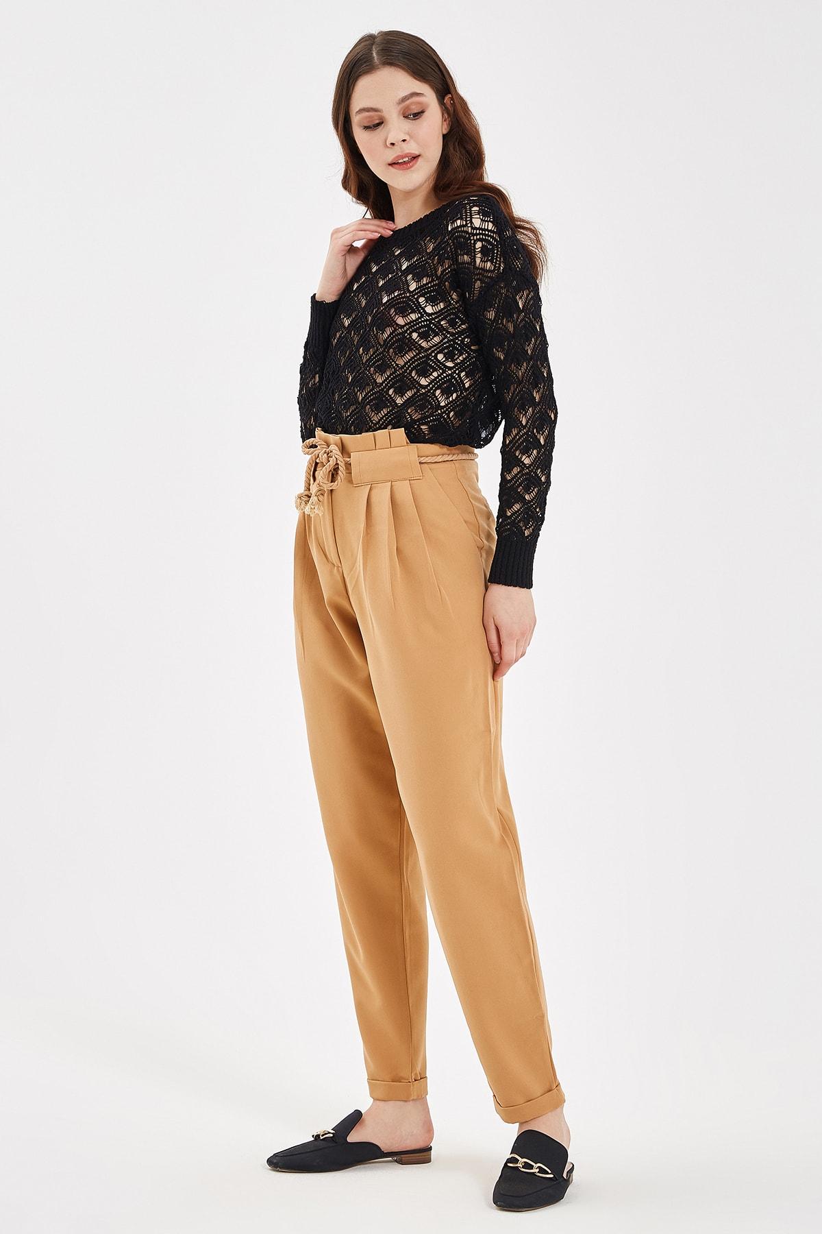 Nisan Triko Bisküvi Bağlama Detaylı Pantolon 2