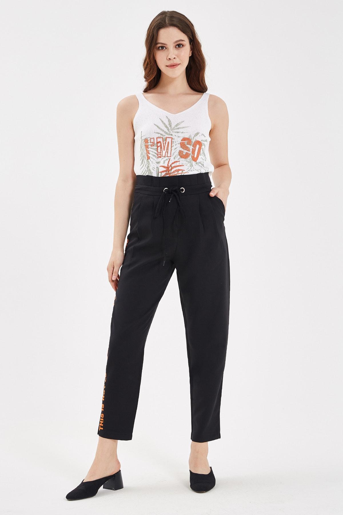 Nisan Triko Siyah Sağlama Detaylı Pantolon 1