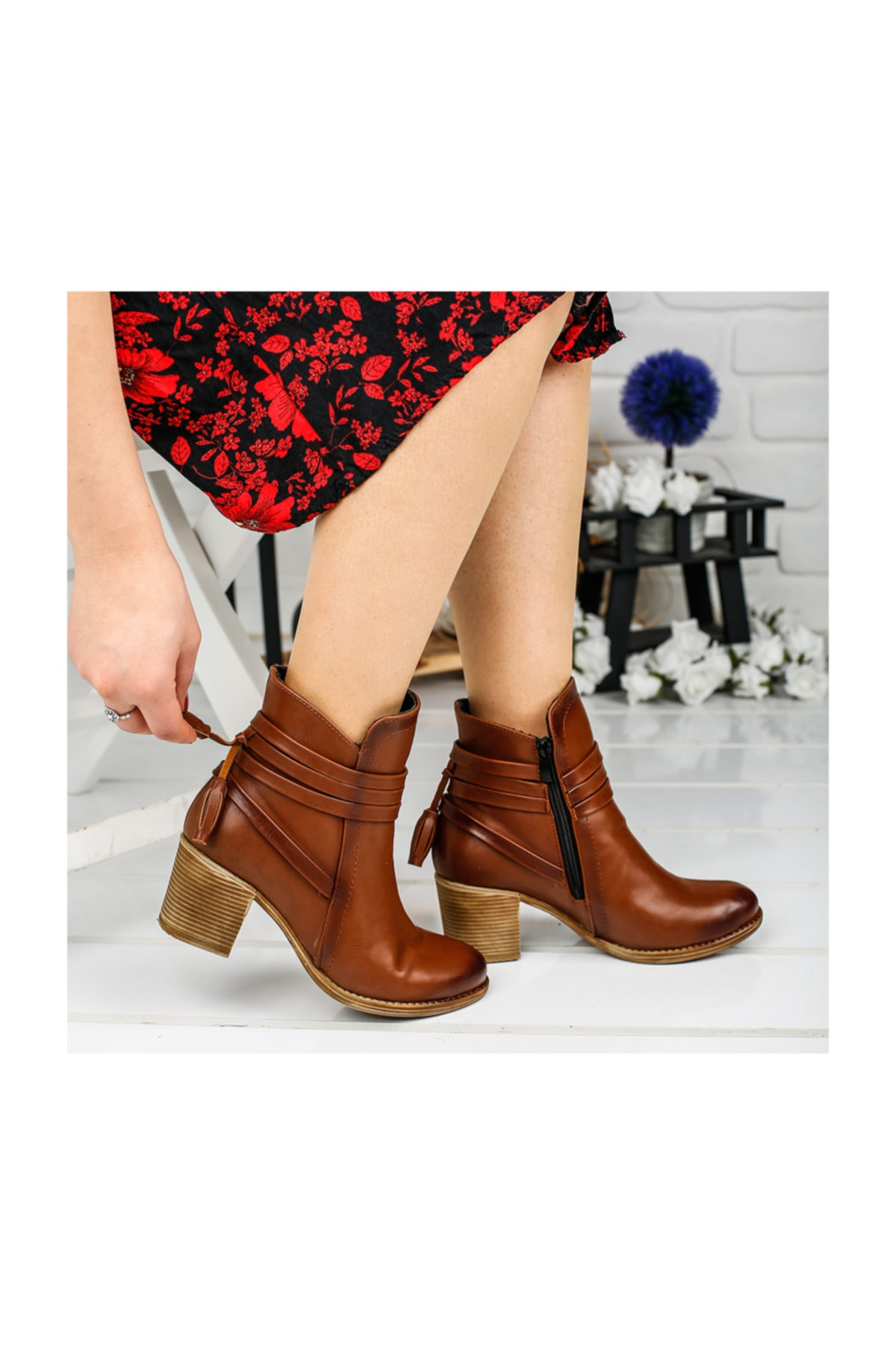 Ayakland 8422-832 Taba 6cm Topuk Bayan Bot Cilt Ayakkabı 1