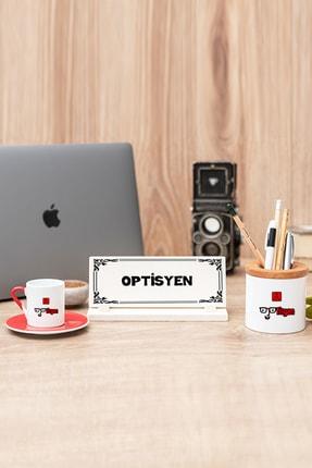 Hediyedukkani Optisyen Kırmızı Türk Kahvesi Fincanı Kalemlik Ve Masa Isimliği Seti