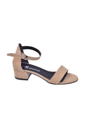 Ayakland Kadın Bej Topuklu Sandalet