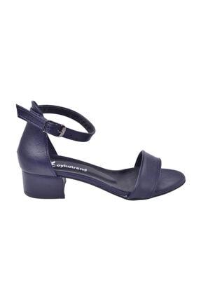 Ayakland Kadın Lacivert Topuklu Sandalet 3 cm