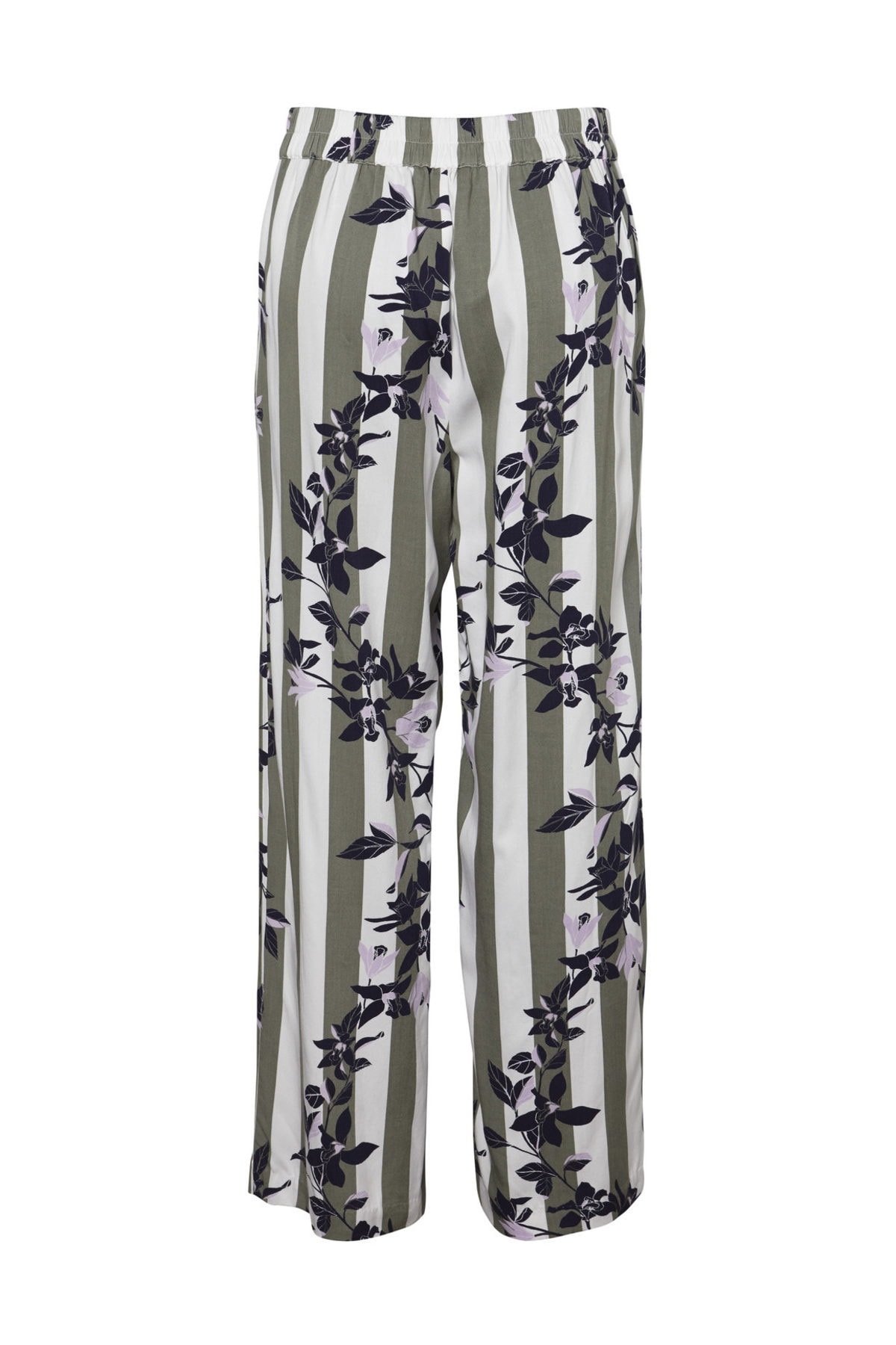 Vero Moda Kadın Yeşil Çizgili Bol Kesim Dokuma Pantolon 10213724 VMVILJA 2