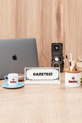 Hediyedukkani Gazeteci Mavi Türk Kahvesi Fincanı Kalemlik Ve Masa Isimliği Seti