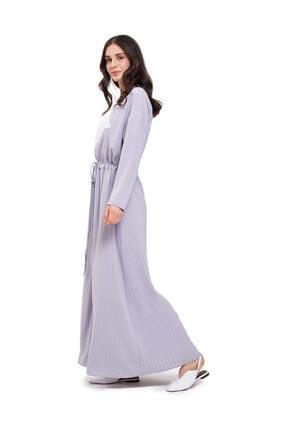 Mizalle Çizgi Parçalı Uzun Elbise Lila