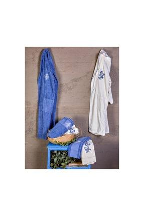 Karaca Home Ikaria Offwhite Mavi Nakışlı Aile Banyo Seti