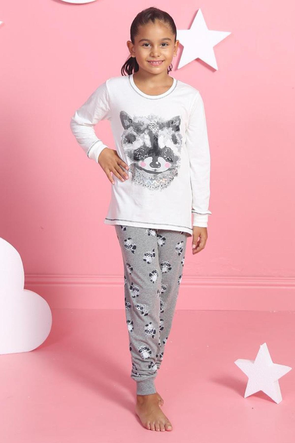 Y-London Kız Çocuk Beyaz Kız Uzun Kol Tişört Pantolon Pijama Takımı 1