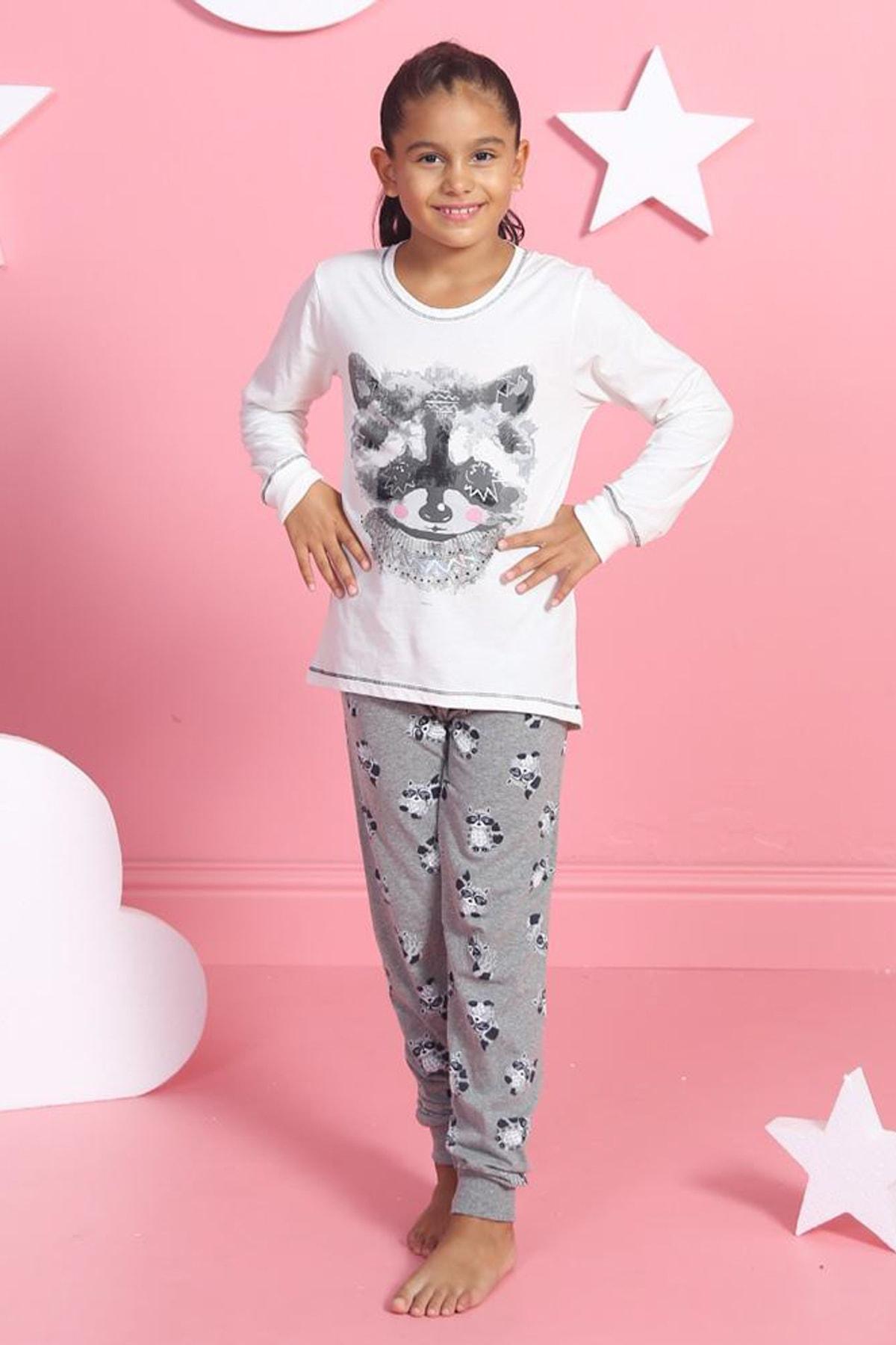 Y-London Kız Çocuk Beyaz Kız Uzun Kol Tişört Pantolon Pijama Takımı 2