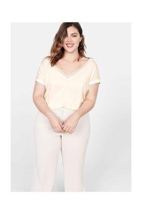 Violeta by MANGO Kadın Kırık Beyaz Metalik Detaylı Bluz 53030600