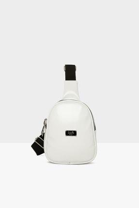 Bagmori Beyaz Kadın Kalın Çift Fermuarlı Mini Çapraz Çanta M000004297