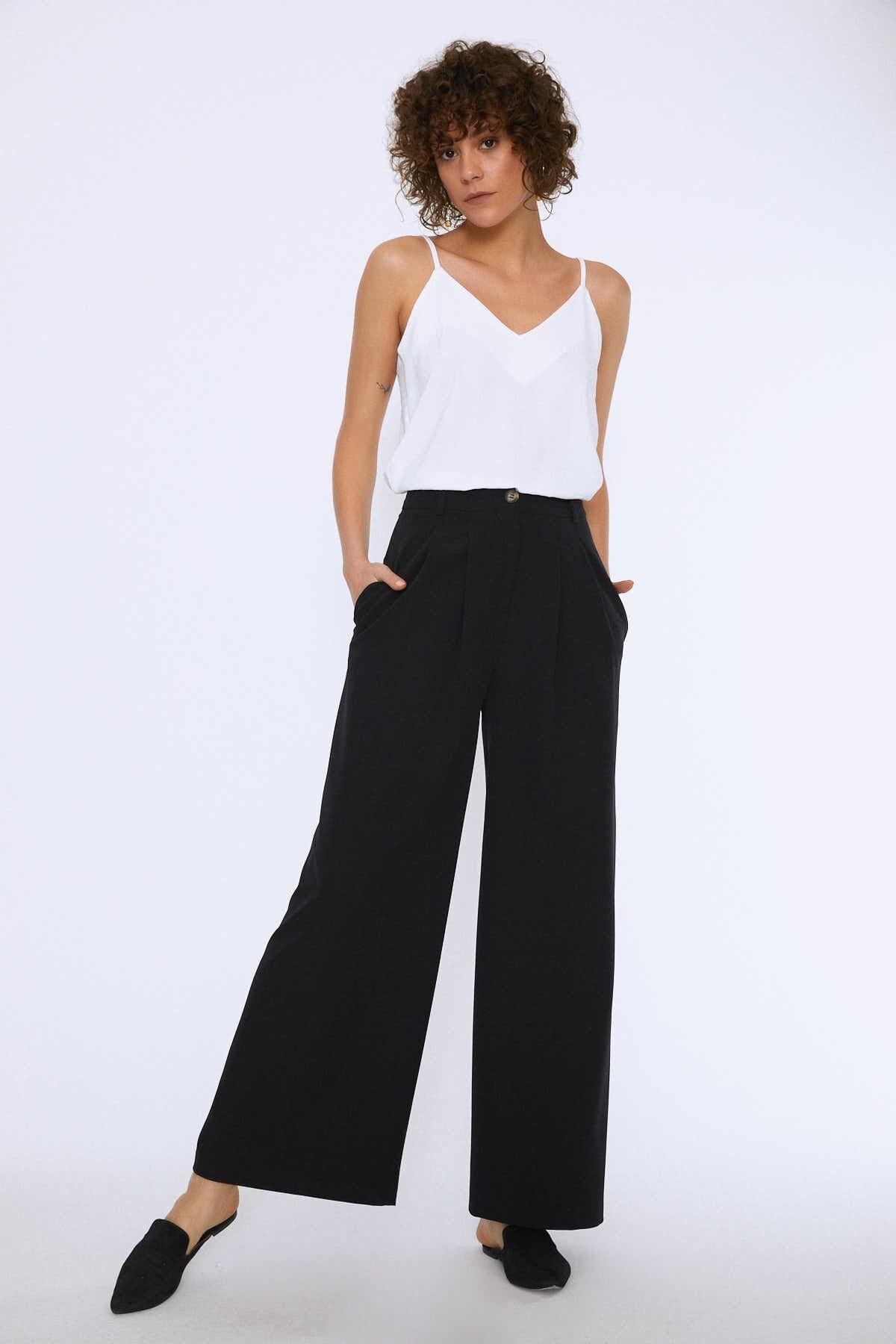 Quzu Kadın Cepli Bol Paça Pantolon Siyah 20Y70681-001