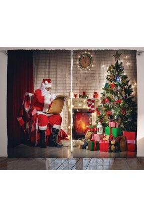 Orange Venue Yeni Yıl Perde Oturup Hediye Listesini Okuyan Noel Baba