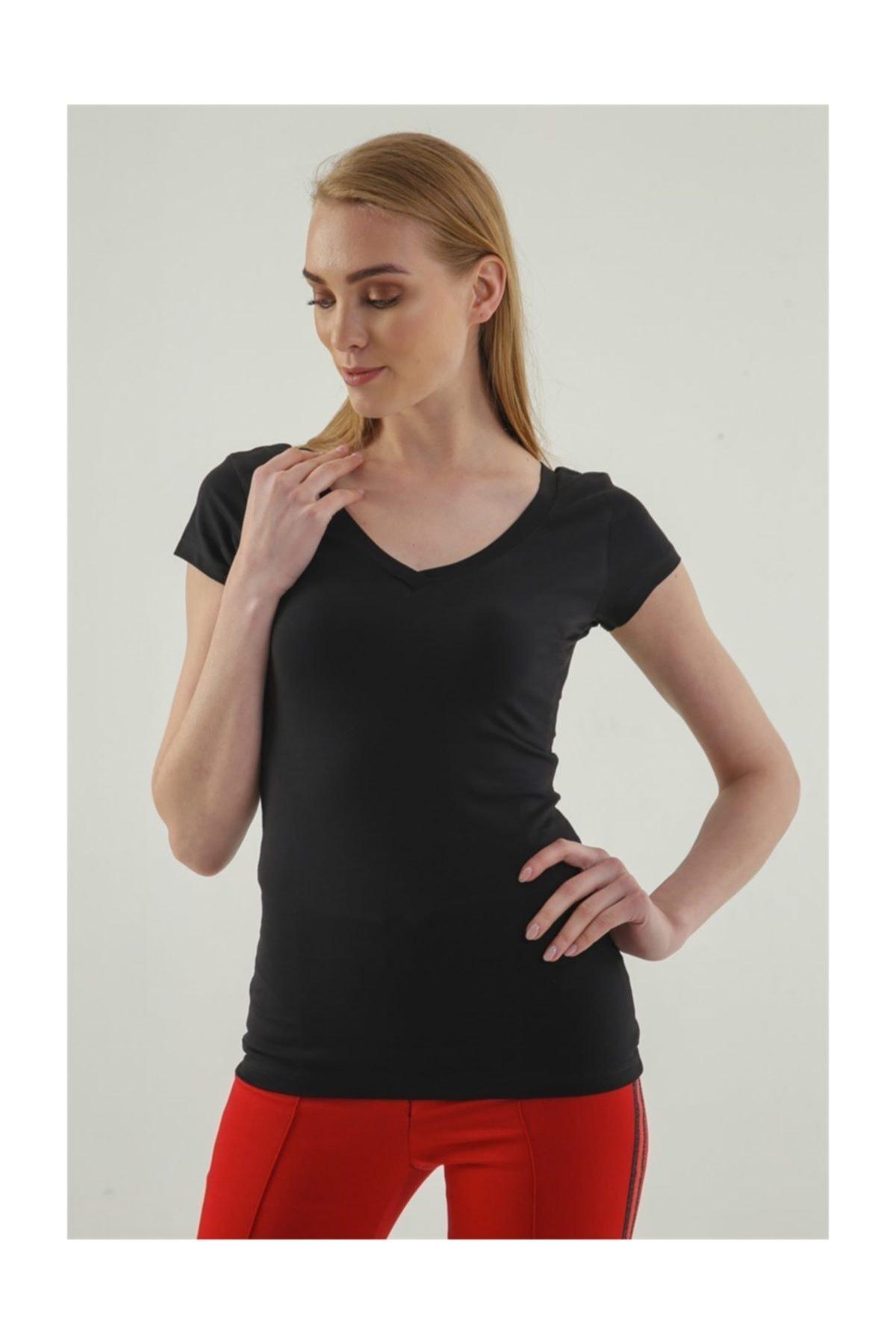 Jument Kadın Siyah Monalisa Ön Arka V Yaka Kısa Kol T-Shirt 5612 1