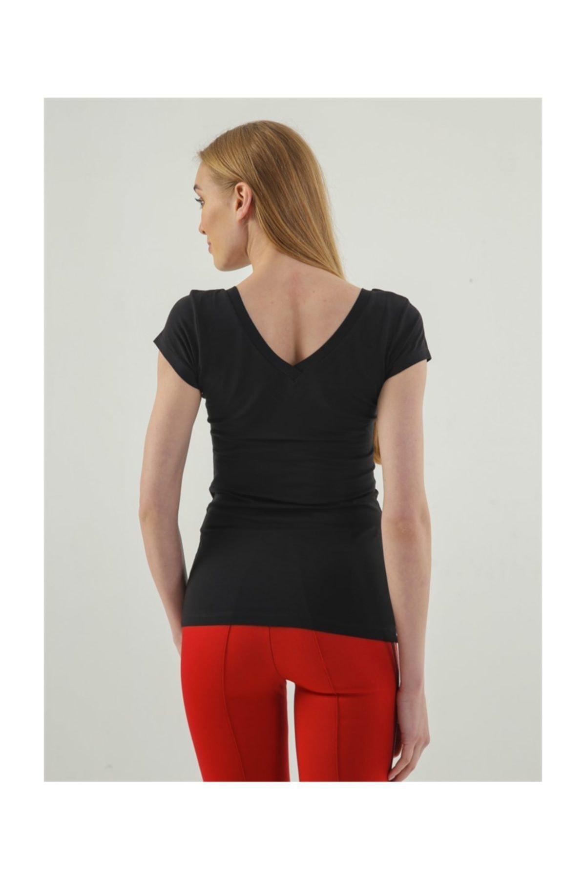 Jument Kadın Siyah Monalisa Ön Arka V Yaka Kısa Kol T-Shirt 5612 2