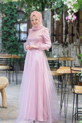 Esma Karadağ Kadın Pudra Çiçek Detay Abiye Elbise
