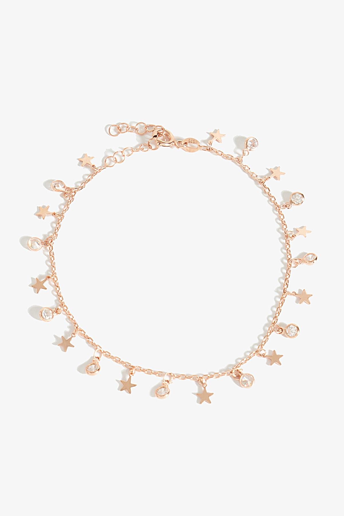 Lapidore Yıldız Figürlü Zirkon Taşlı Rose Gold Bileklik