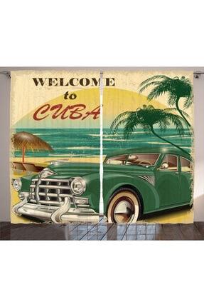 Orange Venue Retro Perde Küba Ve Klasik Araba