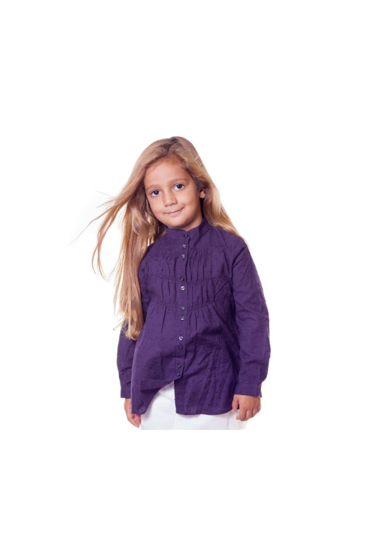Bani Kids Kız Mürdüm Rengi Uzun Kollu Gömlek Bnk-95845 1