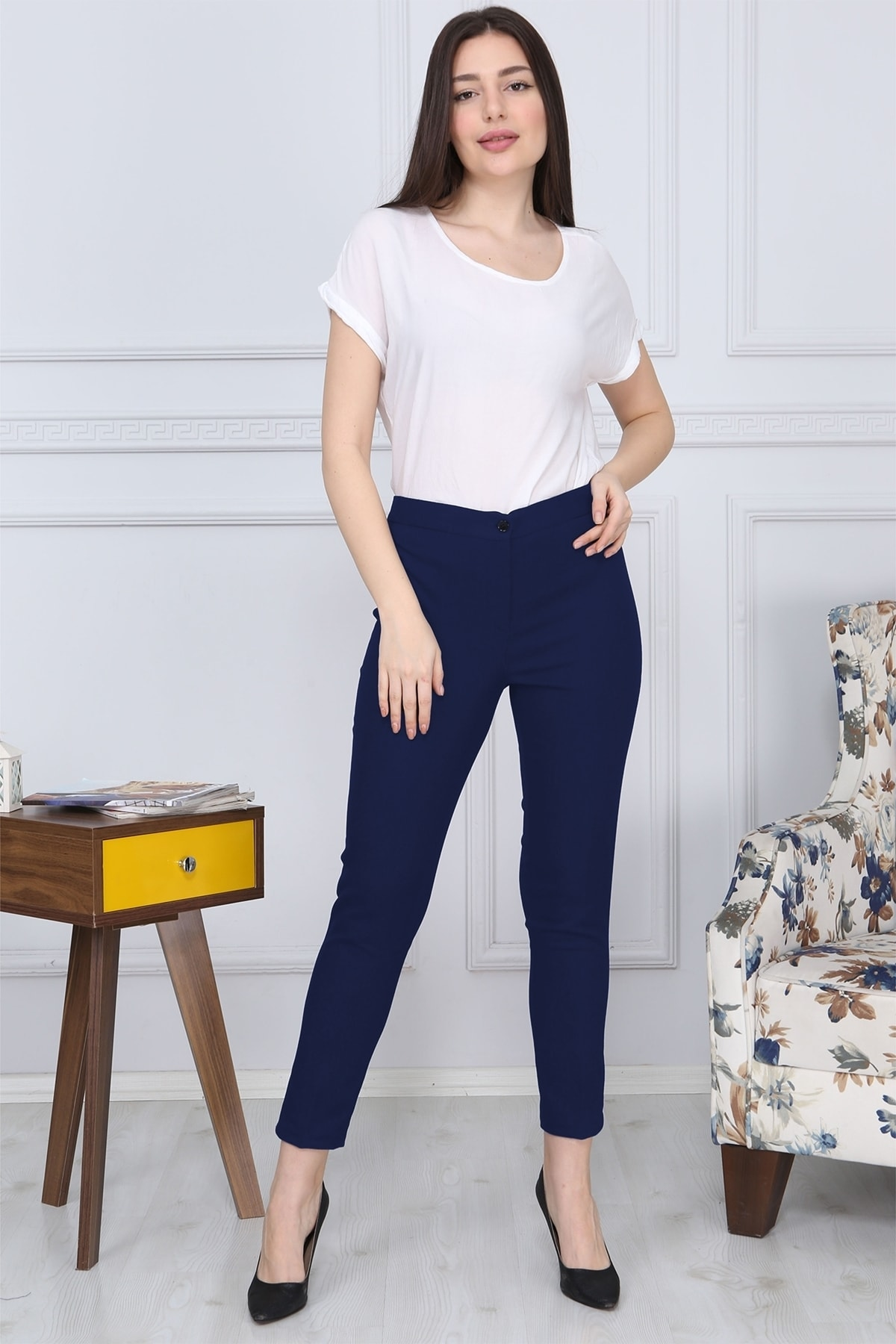 Gül Moda Lacivert Kemerli Dar Paça Kumaş Pantolon Likralı Cepsiz G011 2