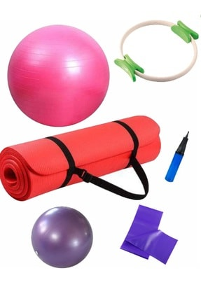 Povit 5'li Pilates Seti 1 cm Kırmızı Nbr Mat, 25cm Top, 65 Cm Top, Bant Ve Çember