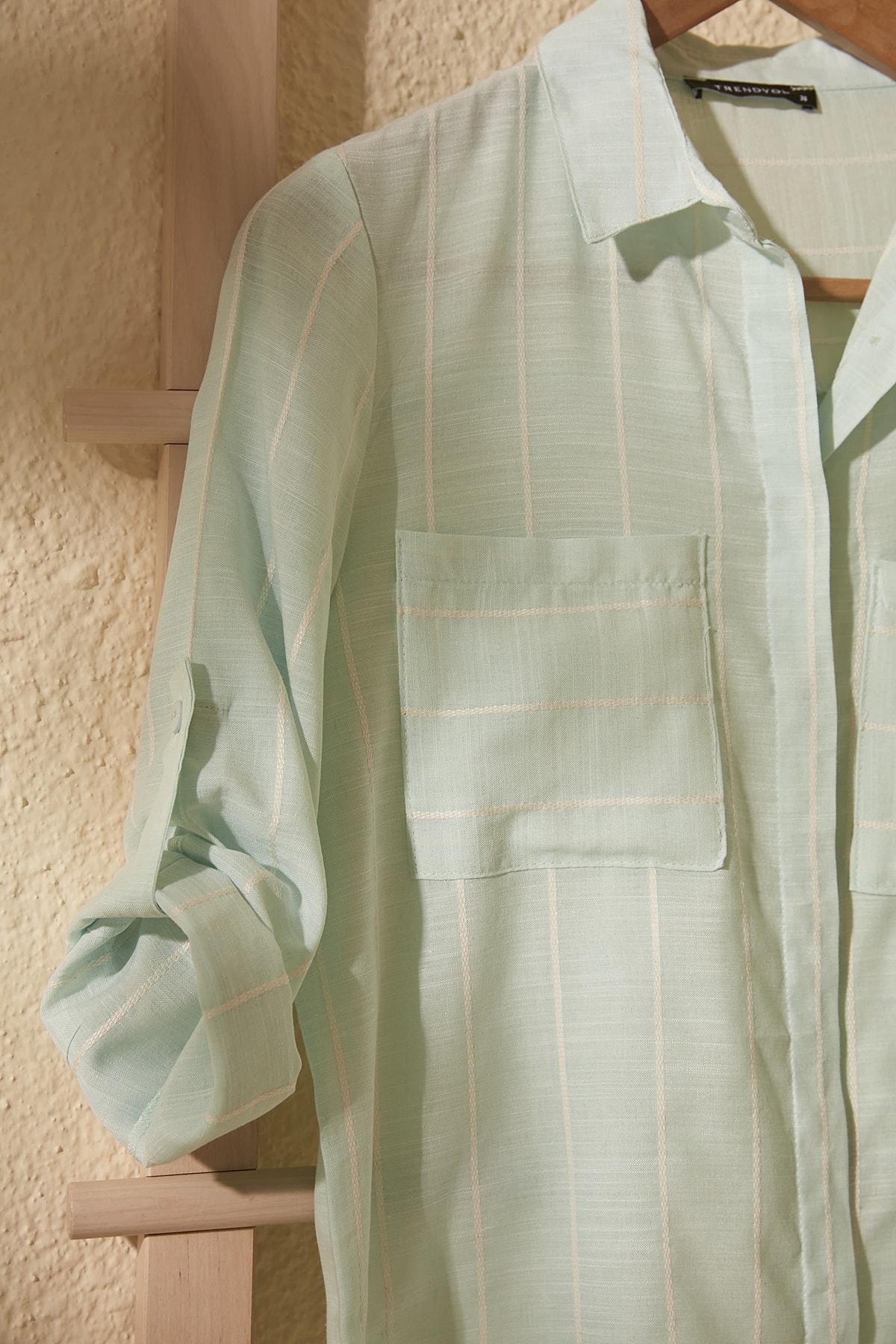 TRENDYOLMİLLA Mint Cep Detaylı Gömlek TWOSS19ST0057 2