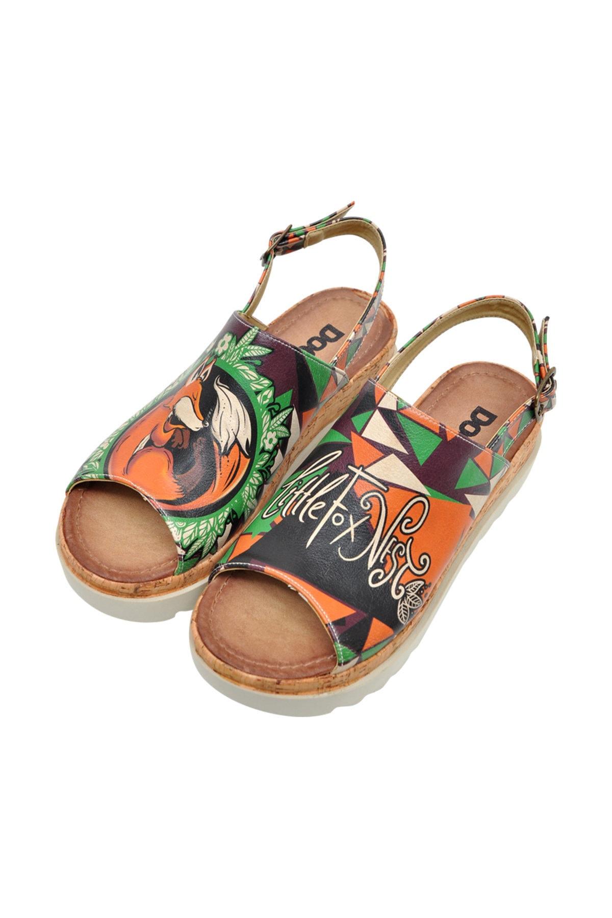 Dogo Little Fox Nest Kadın Kalın Tabanlı Düz Sandalet dgs019-gg011 2