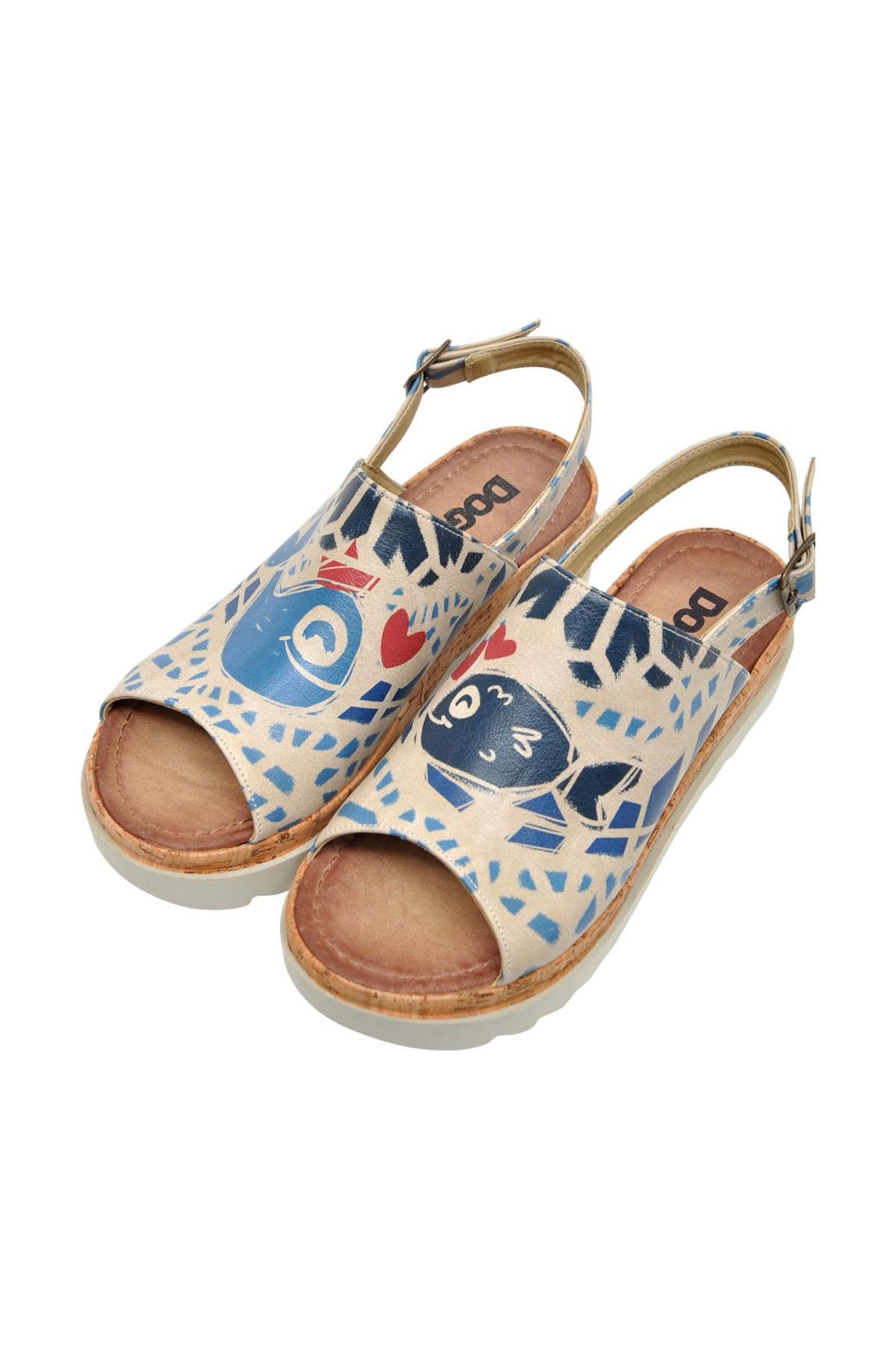 Dogo Fish Love Kadın Kalın Tabanlı Düz Sandalet dgs019-gg010 2