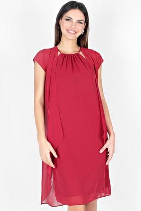 Spazio Kadın Bordo Nevada İki Katlı Şifon Elbise 50095721