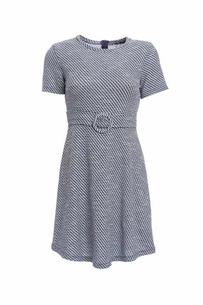 DeFacto Kadın Lacivert Çizgili Kemer Detaylı Örme Elbise N7356AZ.20SM.NV31