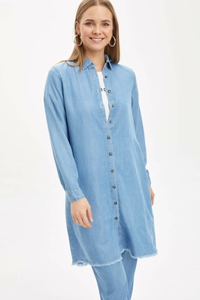 DeFacto Kadın Modest Mavi Düğme Detaylı Dokuma Tunik N4625AZ.20SP.BE39